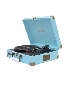 mbeat Woodstock 2 Sky Blue Retro Turntable Player with BT Receiver & Transmitter