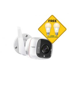 TP-Link Tapo C310 Outdoor Security Wi-Fi Camera 3MP with Night Vision Bonus Free L510B and L510E Light Bulbs