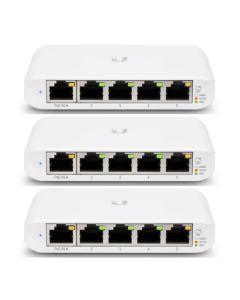 Ubiquiti USW Flex Mini 3 Pack 5 Port Managed UniFi Layer 2 Gigabit Switch 1x PoE Input No PSU