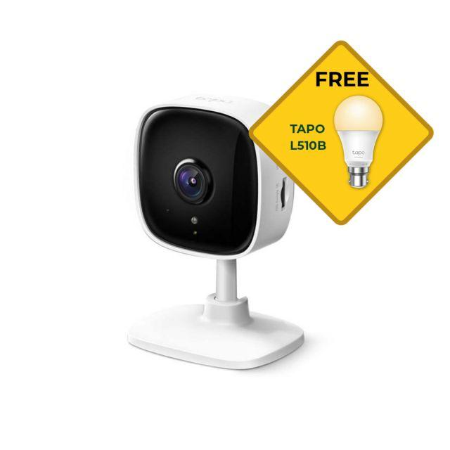 TP-Link Tapo C100 Home Security Wi-Fi Camera 1080P local storage Bonus Free L510B Light Bulb