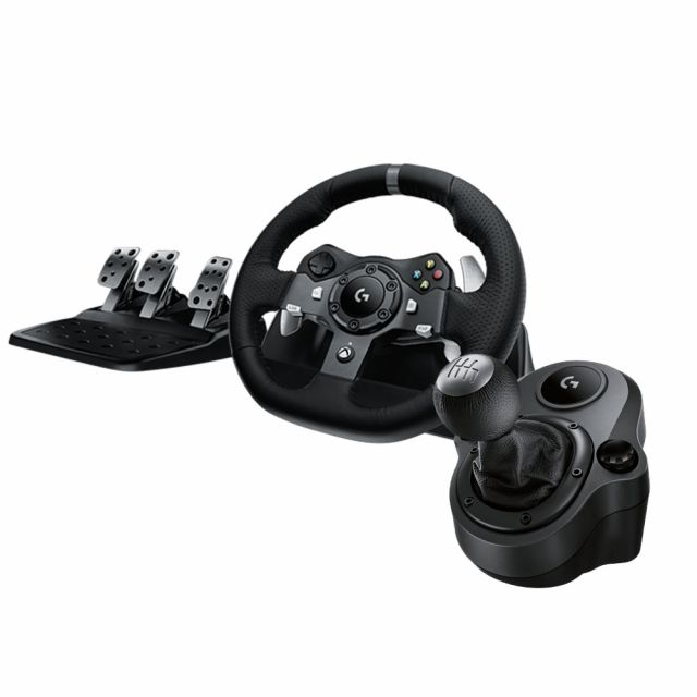 Logitech G920 Driving Force Racing Wheel for Xbox One / PC + Shifter Bundle