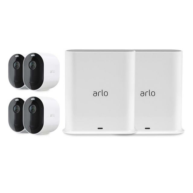 Arlo Pro 3 2K Video HDR Wire-Free Security Camera System 4 Camera System with 2 Base Stations (VMS4240P-100AUS * 2)