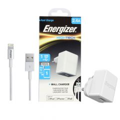 Energizer HighTech Lightning 1 Port USB 2.4A Wall Charger- White