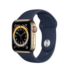 Apple Watch Series 6 40mm Gold Stainless Steel/Navy Sport Band GPS + Cellular