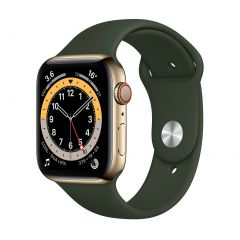 Apple Watch Series 6 44mm Gold Stainless Steel/Green Sport Band GPS + Cellular