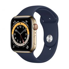 Apple Watch Series 6 44mm Gold Stainless Steel/Navy Sport Band GPS + Cellular
