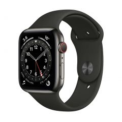 Apple Watch Series 6 44mm Graphite Stainless Steel/Black Sport Band GPS + Cellular