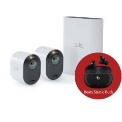 Arlo Ultra 2 Spotlight 4K Camera (2 Pack) VMS5240-200AUS with Beats Studio Buds - Wireless Noise Cancelling Earphones - Black