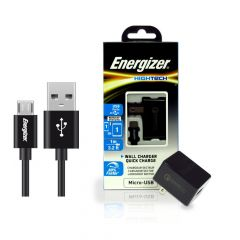 Energizer HighTech Micro-USB 2 Port USB 2.4A Wall Charger- Black
