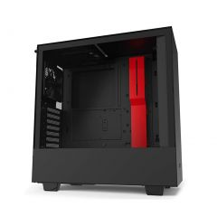 NZXT H510 Compact Gaming ATX Mid Tower Computer Case - Matte Black/Red