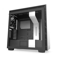 NZXT H710 Gaming Mid Tower ATX Computer Case with Tempered Glass - White/Black