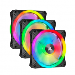 Corsair QL120 RGB 120mm RGB LED - Triple Pack with Lighting Node CORE
